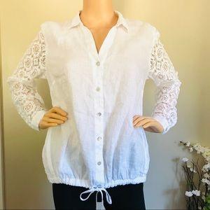 J. Jill Women's 100% Linen White Blouse w/ buttons